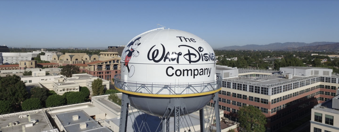 Walt Disney studios water tower with the company logo displayed.