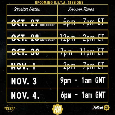 Fallout 76 Beta GMT Times