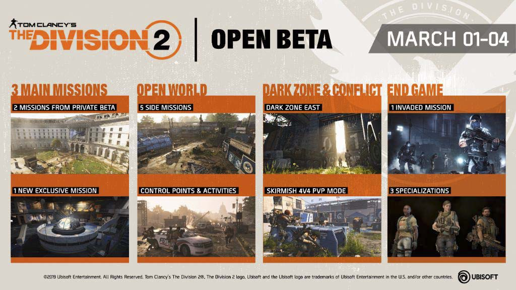 The Division 2 Open Beta Starts 1st March, 2019