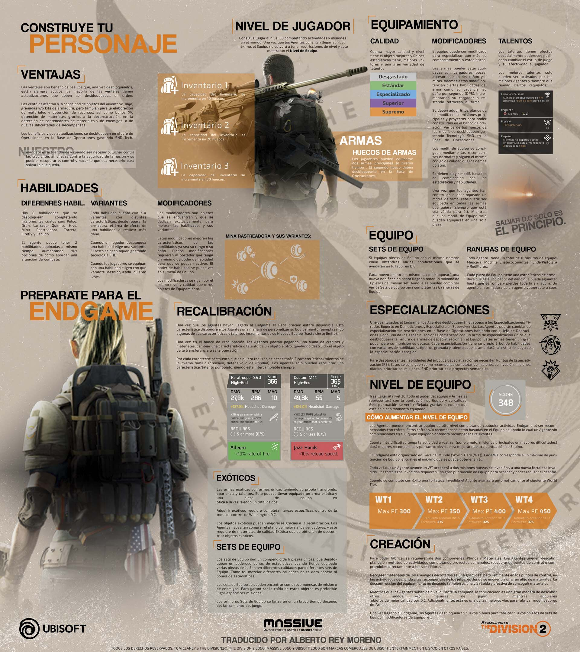 The Division 2 Spanish Character Progression Infographic   By Alberto Rey Moreno