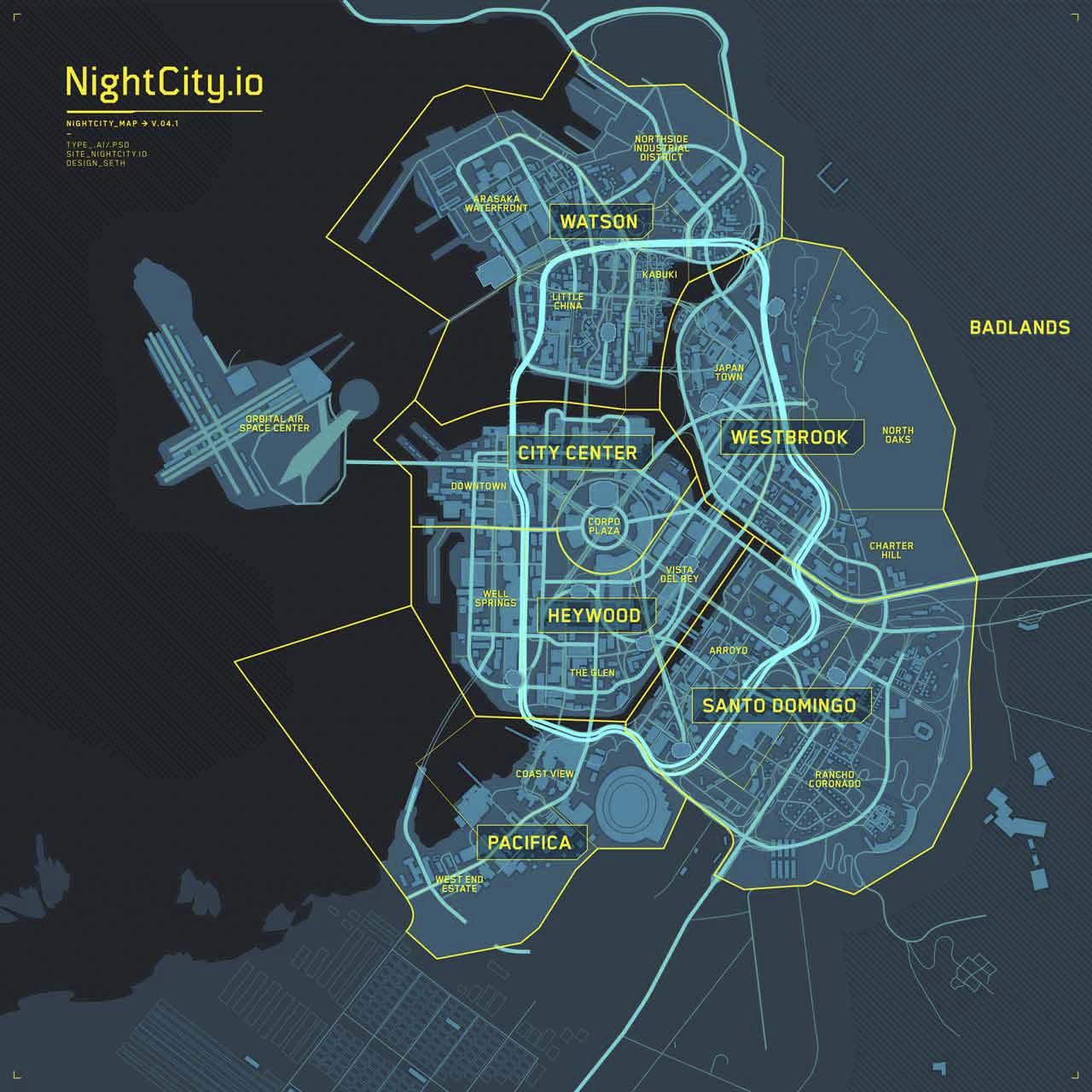 Cyberpunk 2077 : NightCity.io Wallpaper Map Available